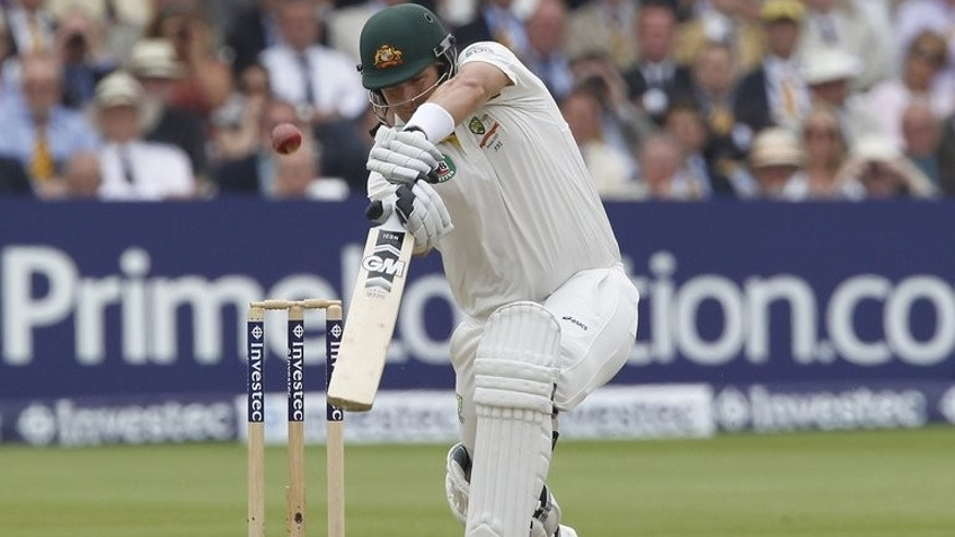Shane Watson plays a shot against England at Lord's on Sunday. Australia's batting woes have been summed up by opener Watson, who in 43 Tests has scored just two hundreds.