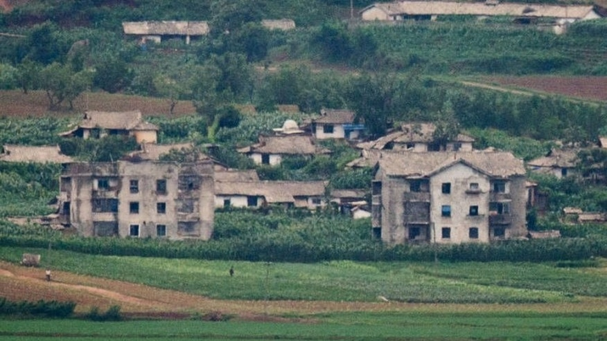 The North Korean propaganda village of Jangdan-myeon is seen July 16, 2013. In 1968 a team of North Korean commandos on a secret mission in South Korea were caught after stopping to offer some South Korean villagers some on-the-spot ideological training.