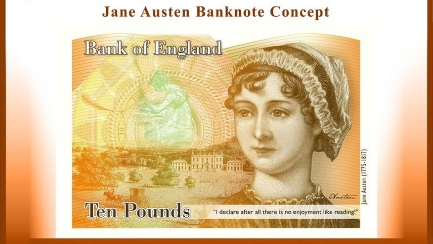 This handout image received on July 24, 2013 from the Bank of England shows a concept image of a new Ten Pound Note featuring late British author Jane Austen.