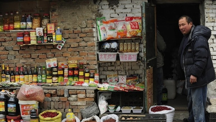A shop owner outside his small store in a village on the outskirts of Beijing on March 4, 2009. China has unveiled moves to boost growth, including reducing taxes on small firms, as a slowdown in the world's number two economy shows no sign of abating.