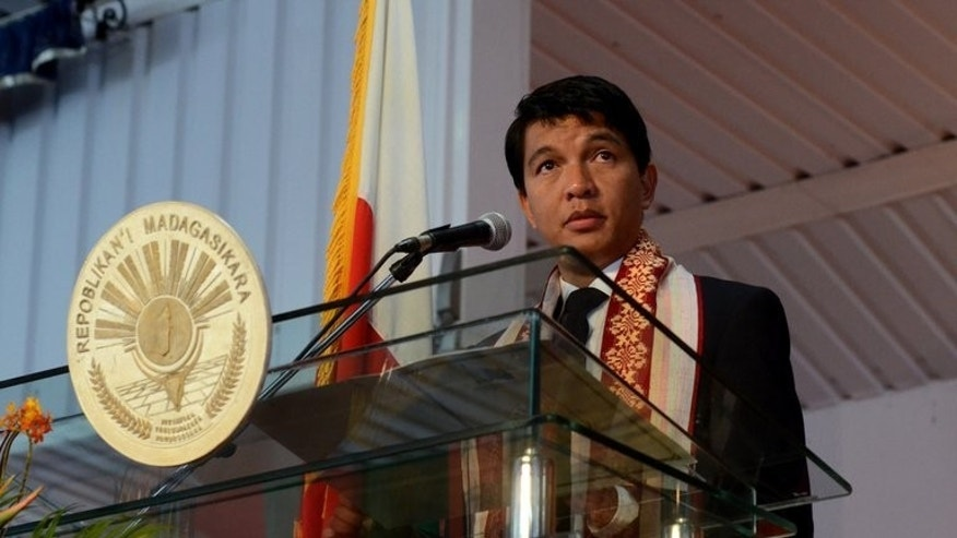 "Andry Rajoelina, President of Madagascar, gives a speech at the Presidential Palace on June 26 2013 in Antananarivo. Madagascar's security forces on Thursday warned protesters to avoid attending any political demonstrations in the capital this weekend, citing a plot to incite a ""blood bath."""