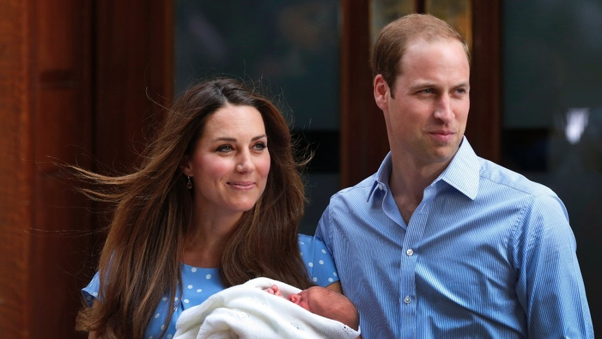 Britain's Prince William, right, and Kate, Duchess of Cambridge hold the Prince of Cambridge, Tuesday July 23, 2013, as they pose for photographers outside St. Mary's Hospital exclusive Lindo Wing in London where the Duchess gave birth on Monday July 22. The Royal couple are expected to head to Londons Kensington Palace from the hospital with their newly born son, the third in line to the British throne. (AP Photo/Lefteris Pitarakis)