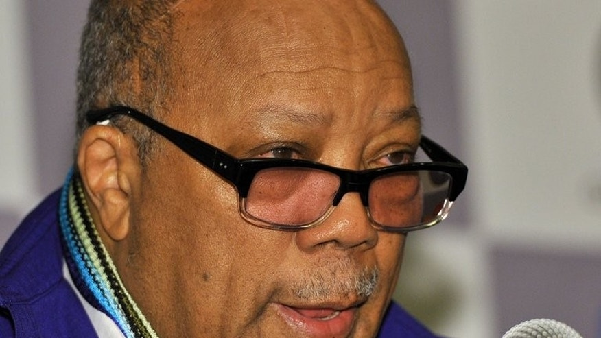 Prominent US music producer Quincy Jones speaks during a press conference in Seoul on July 25, 2013. Quincy Jones has teamed up with South Korean entertainment company CJ EandM to help promote Korea's K-pop stars globally.