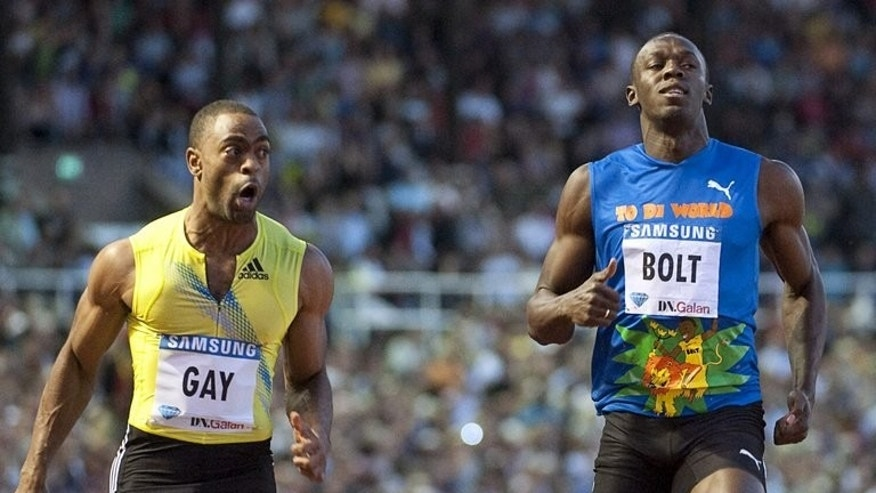 Tyson Gay (left) outpaces Usain Bolt to win a Diamond League men's 100m race in Stockholm in 2010. Usain Bolt will aim to restore sprinting's battered reputation when the Jamaican star returns to London's Olympic Stadium for the Anniversary Games this weekend.