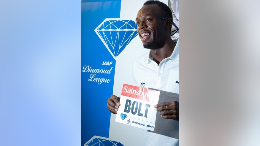 Usain Bolt at a press conference in London on Thursday ahead of the Diamond League Anniversary Games. Bolt, scheduled to appear on Friday and Saturday, returns to the arena where he retained his Olympics 100 metres crown, while also claiming gold medals in the 200m and the 4x100m relay.