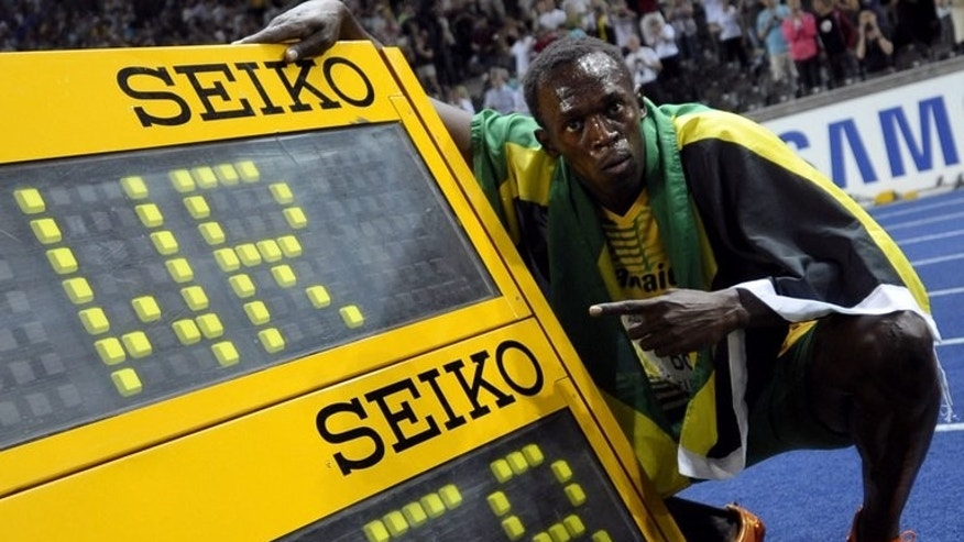 Usain Bolt shows his new 100m world record set at the 2009 world championships in Berlin. Having failed to live up to his fastest man on the planet tag so far this year, Bolt will want a quick time at the Anniversary Games, being held in Stratford to mark one year since the London Olympics.