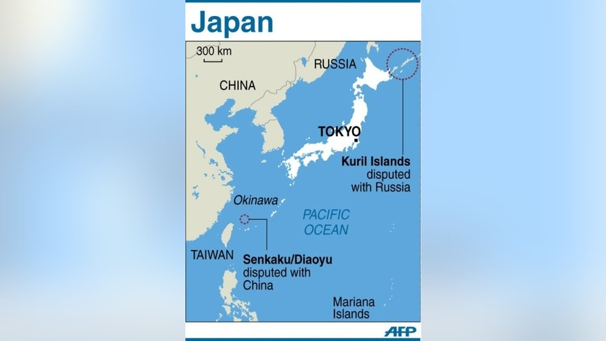 Graphic showing Japan's outlying islands and areas disputed with China and Russia. Japan needs amphibious unitsand surveillance drones to protect its outlying islands, the defence ministry said on Friday.