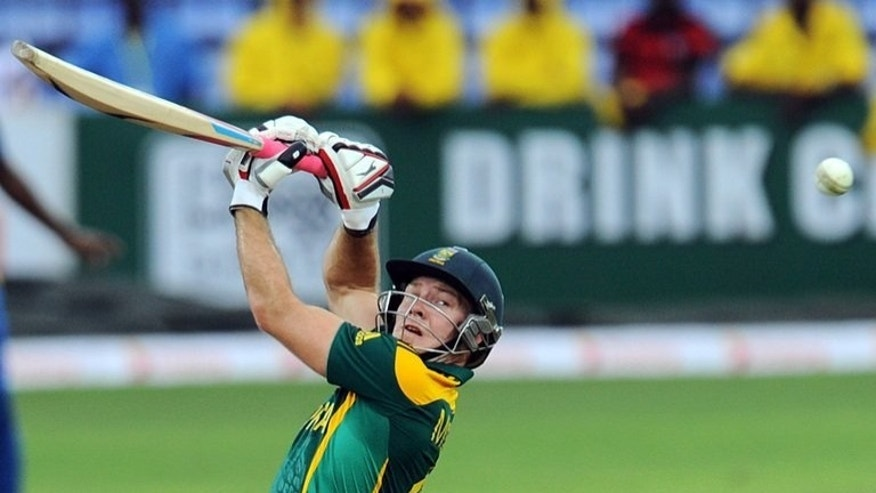 David Miller plays a shot during the third One Day International against Sri Lanka in Pallekele on Friday. Miller smashed a robust 85 not out off 72 balls to steer South Africa to 223-7.