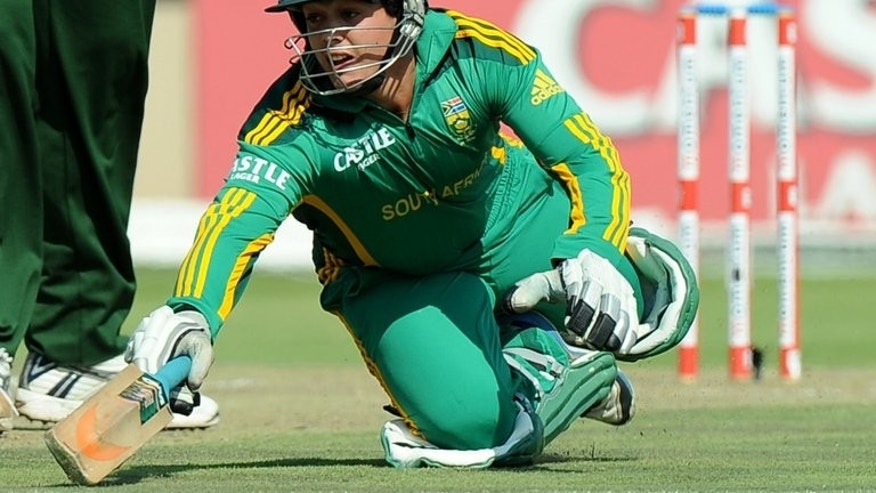 Quinton de Kock dives to reach the crease against Pakistan in Benoni in March. De Kock rejoined the South Africa team as captain AB de Villiers won the toss and elected to bat in the crucial third one-day international against Sri Lanka in Pallekele on Friday.