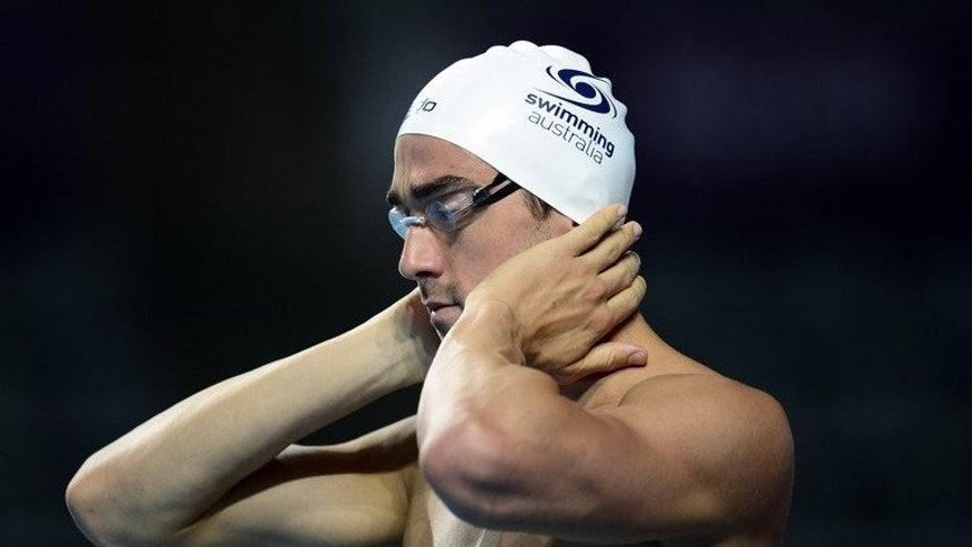 Australian swimmer Matthew Abood, pictured during a training session on the eve of the swimming competition at the FINA World Championships, at the Palau Sant Jordi in Barcelona, on July 27, 2013. The men's 4x100m freestyle team, a disappointing fourth in London, will have a new look at Barcelona worlds, starting Saturday, with the inclusion of Abood.