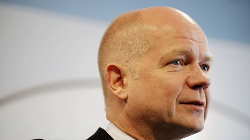 "British Foreign Secretary William Hague speaks to the media in Pristina on October 25, 2012. Hague said on Saturday he was ""deeply concerned"" by unrest in Egypt that has led to dozens of deaths and condemned the use of force against protesters."