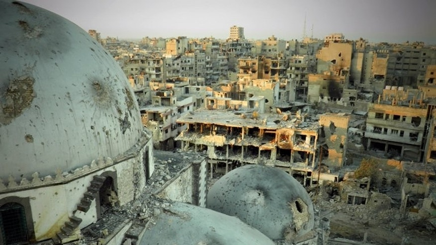 A Shaam News Network picture from Thursday said to show Khaled bin Walid mosque in al-Khalidiyah district, Homs. Regime forces backed by Hezbollah now control half of Khaldiyeh district after ousting rebels in fierce fighting in the central Syrian city, a watchdog said on Saturday.