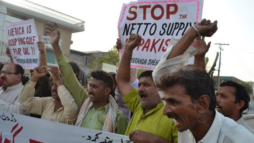 Pakistani protesters from the United Citizen Action shout anti-US slogans during a protest in Multan on June 8, 2013 against US drone attacks in Pakistani tribal areas. A US drone attack on Sunday killed at least six militants and wounded three others in the northwestern tribal area of Pakistan, officials said.