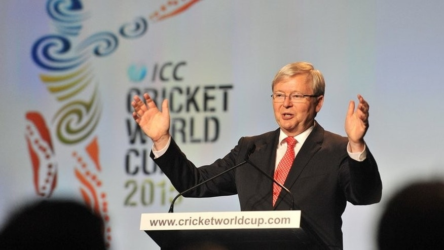 Australia's PM Kevin Rudd addresses guests at the official launch of the 2015 Cricket World Cup, in Melbourne, on July 30 2013. The tournament will be run across 14 Australian and New Zealand cities with the final to be staged at the Melbourne Cricket Ground (MCG) on March 29, 2015.