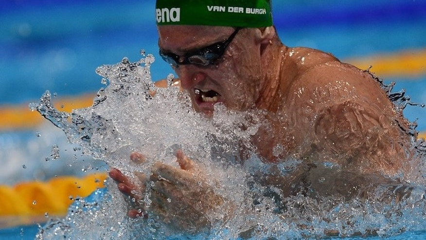 South Africa's Cameron Van Der Burgh competes in the heats of the men's 100-metre breaststroke swimming event in the FINA World Championships at Palau Sant Jordi in Barcelona on July 28, 2013. China's Ye Shiwen can expect a battle royal in the women's 200m individual medley final evening, as the reigning champion defends her title at swimming's world championships.