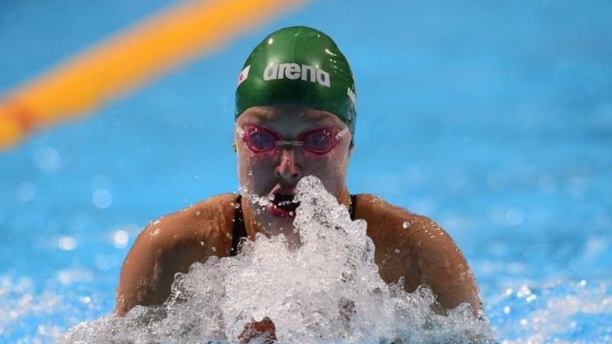 Lithuania's Ruta Meilutyte competes in the heats of the women's 100-metre breaststroke swimming event in the FINA World Championships at Palau Sant Jordi in Barcelona on July 29, 2013. China's Ye Shiwen can expect a battle royal in the women's 200m individual medley final evening, as the reigning champion defends her title at swimming's world championships.