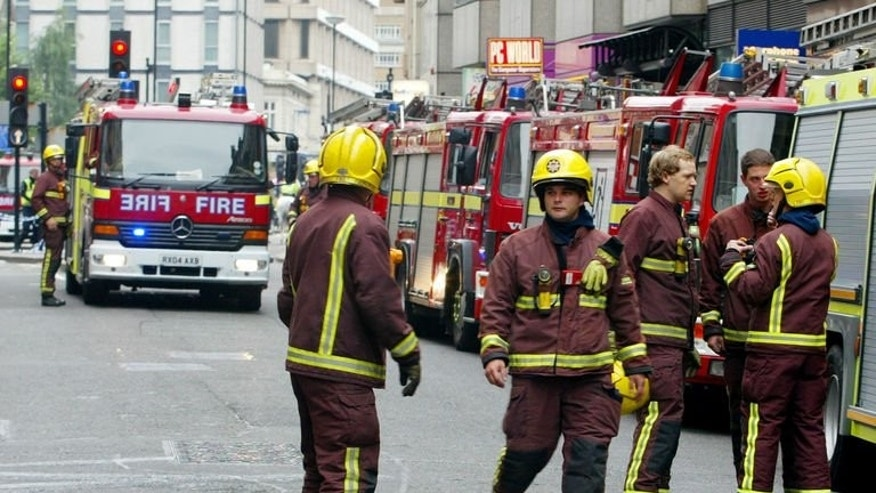 Fire crews attend an incident at Aldgate, central London. In the past three years the London Fire Brigade has rescued 79 people unable to escape handcuffs, as well as nine men with rings stuck on their penises, one with his penis trapped in a toaster and another in a vacuum cleaner.