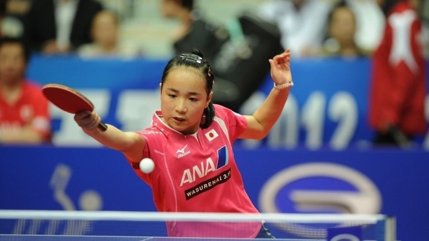 Mima Ito, seen in action during a tournament in Shanghai, on May 24, 2012. Twelve-year-old Japanese table tennis prodigy has set her sights on challenging China's hegemony at the next Olympics after wowing audiences in Taiwan.