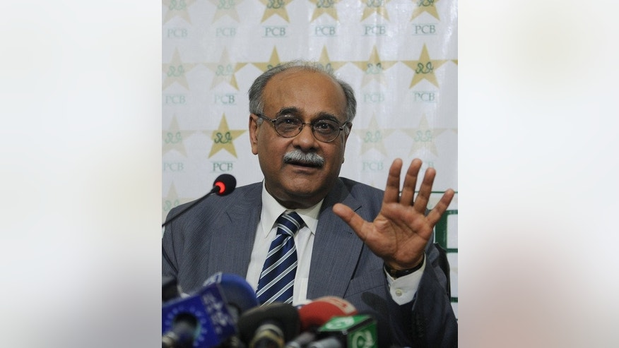 "Najam Sethi, interim chairman of the Pakistan Cricket Board (PCB), addresses a press conference in Lahore on June 24, 2013. Pakistan's cricket chief termed fixing allegations over the team's one-day series against the West Indies as ""outrageous"" adding his board had insisted on a full investigation by the International Cricket Council (ICC)."