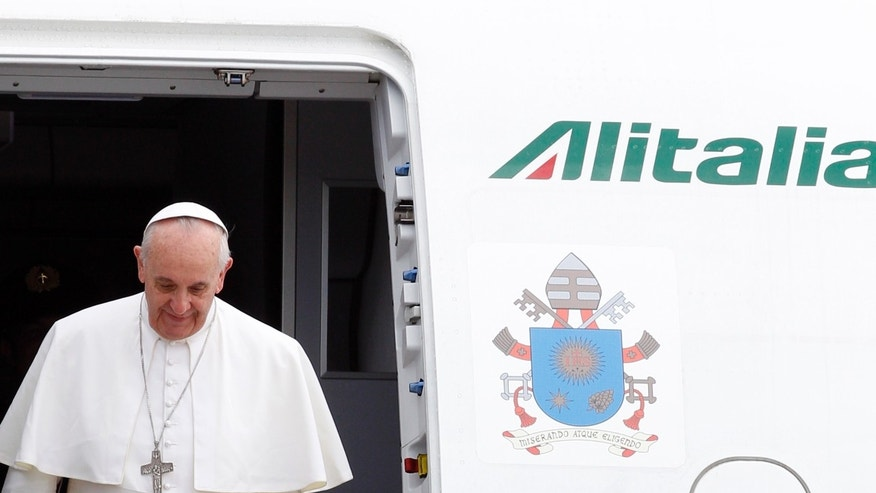 July 29, 2013 - Pope Francis disembarks from the plane after landing from Rio de Janeiro, Brazil, at Ciampino's military airport, on the outskirts of Rome.