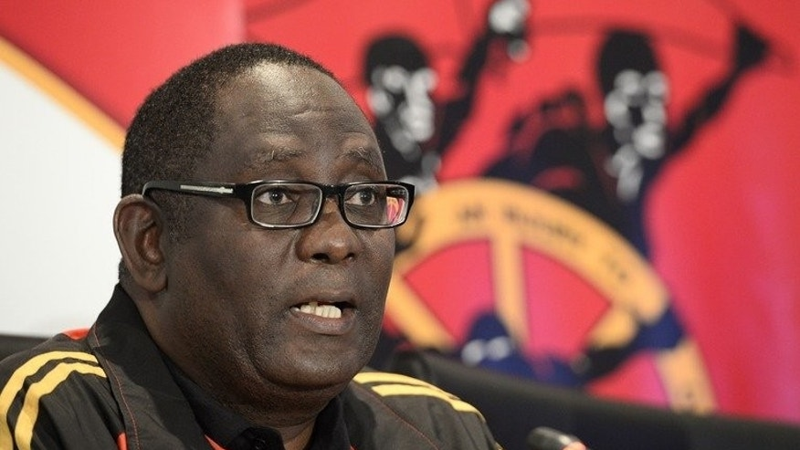 Zwelinzima Vavi gives a news conference in Johanessburg on May 29. South Africa's top trade union boss said a female subordinate had dropped rape allegations against him Monday, after a brief internal inquiry.