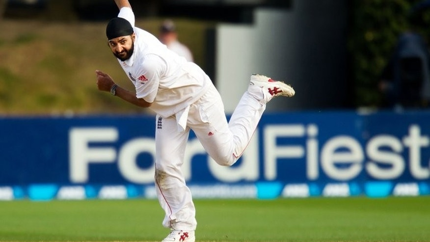Monty Panesar bowls against New Zealand in Wellington on March 17. Panesar has been added to England's squad as a second spinner for the third Ashes Test at Old trafford starting on Thursday.