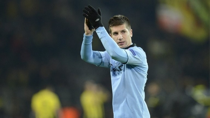 "Manchester City's defender Matija Nastasic, pictured during a match in Dortmund, in 2012. Nastasic had to be stretchered off Hong Kong's ""killer pitch"" on July 27, 2013, spoiling what was Manuel Pellegrini's first piece of silverware as Man City manager."