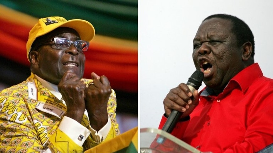Zimbabwe's president Robert Mugabe (L), and (R) Prime Minister Morgan Tsvangirai. Mugabe supporters have voiced confidence that his 33-year-rule will be extended, when Zimbabweans vote in elections that many opponents fear will be rigged.