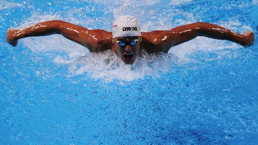 South Africa's Chad Le Clos competes in the final of the men's 200-metre butterfly swimming event in the FINA World Championships at Palau Sant Jordi in Barcelona on July 31, 2013. Le Clos of South Africa won the men's 200m butterfly final at swimming's world championships on Wednesday -- exactly a year after his triumph in London.