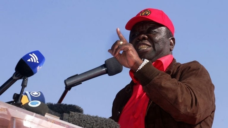 Zimbabwe's Prime minister and leader of the Movement for Democratic Change (MDC), Morgan Tsvangirai, addresses his final campaign rally in Harare on July 29, 2013. Casting his ballot Wednesday, Tsvangirai expressed confidence he will win an historic and overwhelming victory against his veteran rival President Robert Mugabe.