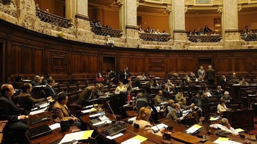 View of Uruguay's lower house during the debate of the bill legalizing marijuana, in Montevideo, on July 31, 2013. The house is to vote on a controversial bill which for the first time would put a government in charge of production and distribution of legal marijuana.