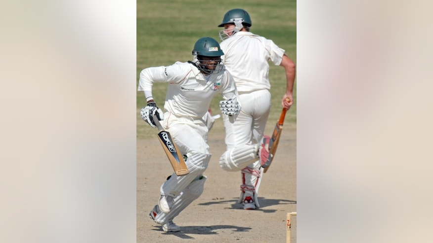 Timycen Maruma (right) and Christopher Mpofu make a run in a Zimbabwe practice match in 2008. Maruma could replace one of Zimbabwe's misfiring batsmen in the fourth one day international against India in Bulawayo on Thursday.