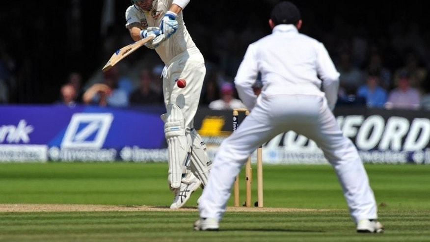 Michael Clarke plays a stroke against England at Lord's on July 21. Australia's captain won the toss and elected to bat against England in the third Ashes Test at Manchester's Old Trafford ground on Thursday.