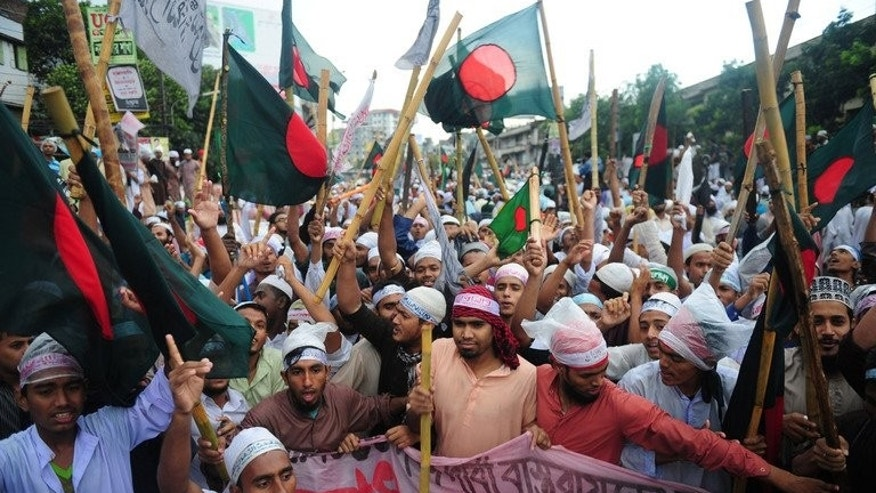 Islamist protesters gather in Dhaka on May 5, 2013. Bangladeshi security forces have killed at least 150 protesters since February, using excessive force during demonstrations against war crime trials for top Islamists, a rights group said Thursday.