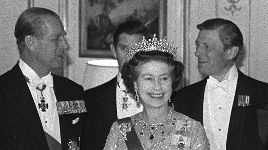 "The Queen and Prince Philip at a reception in London in 1984. Queen Elizabeth II was to tell her ""brave country"" to stand firm as it faced up to a nuclear war, in a previously secret speech prepared for her in 1983."