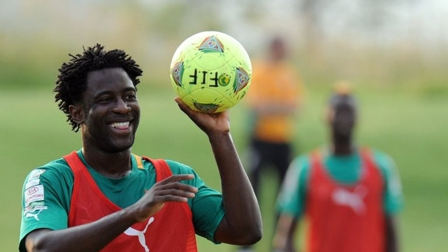 Ivory Coast's forward Wilfried Bony takes part in a training session in Rustenburg on February 1, 2013. Swansea marked their return to Europe after a 22-year absence with a 4-0 drubbing of Malmo in the Europa League on Thursday with club record signing Bony scoring twice.