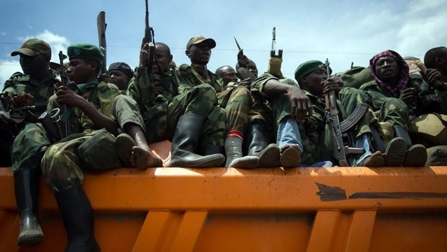 M23 rebels withdraw from the city of Goma, in the east of the Democratic Republic of Congo, last December. Rebels in the volatile east of the Democratic Republic of Congo face a deadline Thursday to lay down their arms, but they have dismissed the UN peacekeepers' ultimatum as irrelevant.