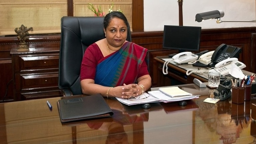 India's Foreign Secretary Sujatha Singh at her office in New Delhi, on August 1, 2013. India has hinted at restarting peace talks with rival Pakistan that stalled over clashes earlier this year in the disputed region of Kashmir.