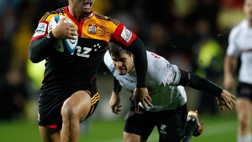 Lelia Masaga (L) of the Waikato Chiefs during a Super 15 match in New Zealand on August 4, 2012. The Chiefs were Thursday sweating on the fitness of star winger Masaga in the countdown to Saturday's final against the ACT Brumbies.