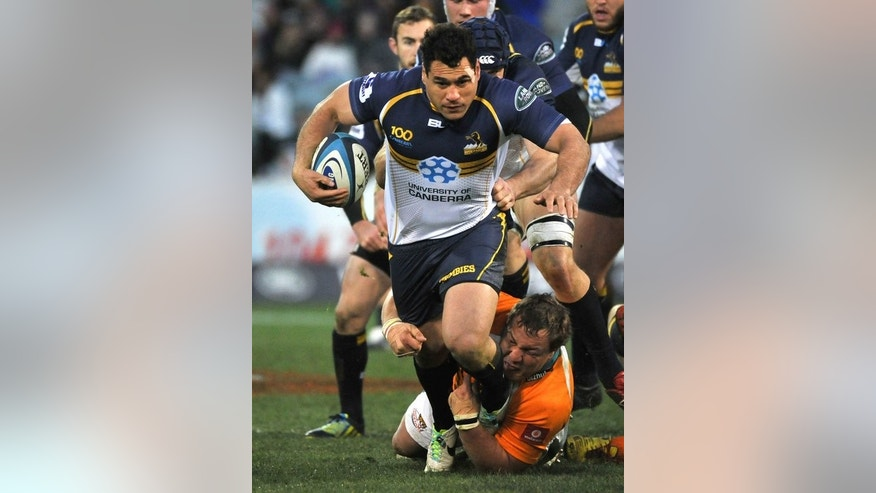 Brumbie George Smith pictured during a Super Rugby match against the Cheetahs in Canberra on July 21, 2013. The wily Smith was the outstanding performer when the Brumbies upset the Northern Bulls 26-23 in their semi-final at Pretoria.