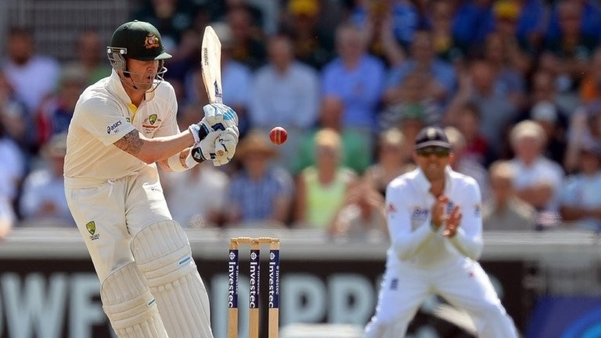 Michael Clarke bats against England at Old Trafford on Friday. Australia, after winning the toss, were 392 for five against England at lunch on the second day of the third Ashes Test at Old Trafford on Friday.