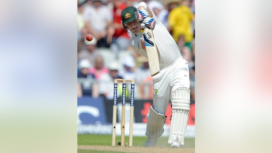 Brad Haddin bats against Australia at Old Trafford on Friday. Brad Haddin, dropped on 10, was unbeaten on 18 at lunch.
