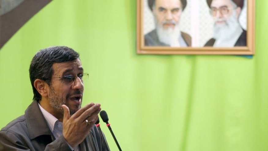 "Iranian President Mahmoud Ahmadinejad delivers a sermon at Tehran University, on August 2, 2013. Ahmadinejad has warned arch-foe Israel in one of his last public speeches that a regional storm was brewing that would ""uproot"" the Jewish state."