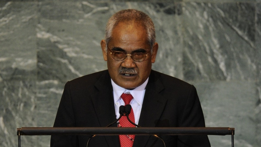 In this file photo, Willy Telavi, Prime Minister of Tuvalu, addresses the UN General Assembly in New York, on September 24, 2011. Tiny Pacific nation was caught in a constitutional crisis on Friday after Telavi and governor general tried to sack each other, sources in the capital Funafuti said.
