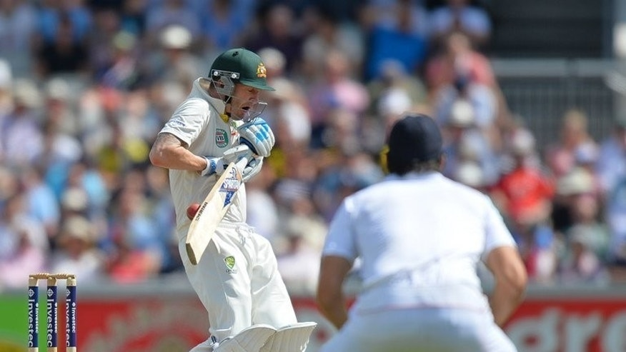 Australia's Michael Clarke (L) bats during the second day of the third Ashes test against England on August 2, 2013. At Friday's close Ashes-holders England were 52 for two in reply to Australia's first innings 527 for seven declared, a deficit of 475 runs in a match the tourists had to win to stand any chance of regaining the urn.