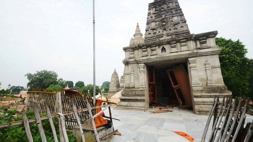 The entrance to a Budhist temple at the Bodh Gaya complex in the Indian city of Patna, on July 7, 2013. Maoist guerrillas blew up a railway track in the eastern Indian state of Bihar, disrupting rail traffic near Bodh Gaya -- Buddhism's holiest site -- a railway official told AFP.