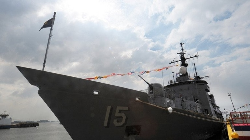 Hamilton-class cutter Gregorio del Pilar is achored at a pier in Manila on December 14, 2011. The Philippines said Saturday it is purchasing a surplus French Navy vessel to boost its forces in the South China Sea where it has an ongoing territorial dispute with China.