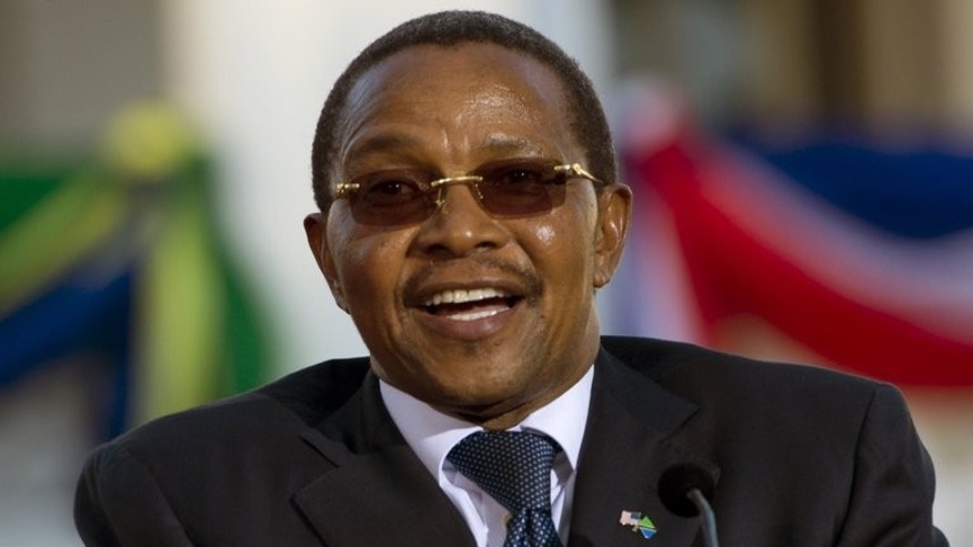 Tanzanian President Jakaya Kikwete speaks at a press conference at the State House in Dar Es Salaam on July 1, 2013. Relations between Tanzania and neighbour Rwanda are strained, Kikwete has acknowledged against a backdrop of conflict in eastern Democratic Republic of Congo.