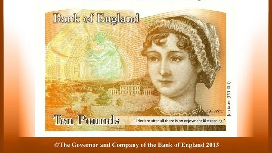 This handout image received on July 24, 2013 shows a concept image of a new Ten Pound Note featuring late British author Jane Austen. High-profile women in Britain have long complained of online harassment, but the issue reached front pages last week when feminist campaigner Caroline Criado-Perez met with a barrage of abuse after successfully lobbying for Jane Austen to appear on a banknote.