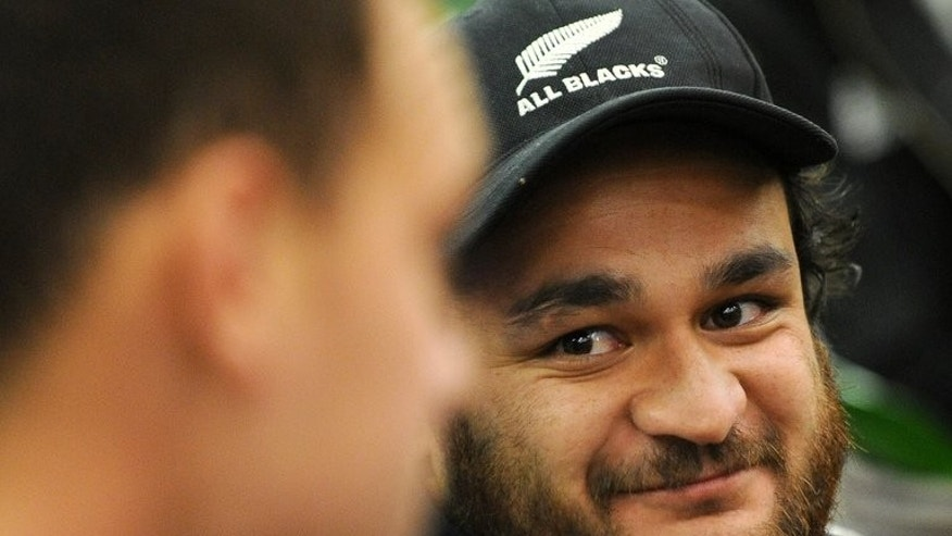 New Zealand All Blacks' veteran scrumhalf Piri Weepu (R), pictured during a press conference in Auckland, on October 21, 2011. Weepu has been dumped from the team for the Rugby Championship, with the squad named on Sunday including one new face and marking the return of captain Richie McCaw.